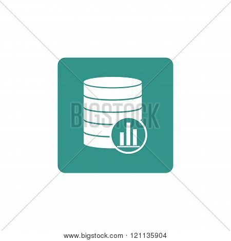Database-stats Icon, On Green Rectangle Background, White Outline