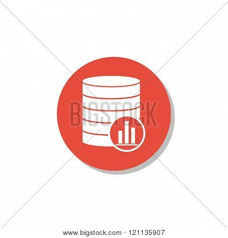 Database-stats Icon, On White Background, Red Circle Border, White Outline