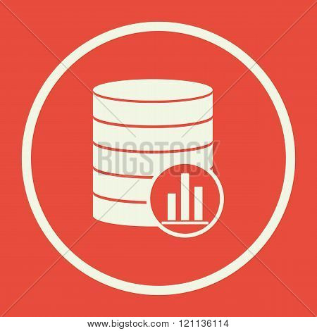 Database-stats Icon, On Red Background, White Circle Border, White Outline