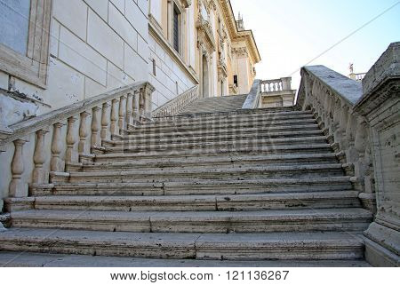 Rome, Italy - December 21, 2012: Stairs To Senate Palace (rome City Hall) On Capitoline Hill, Rome,