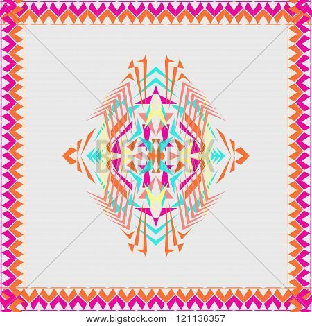 Vector Tribal Decorative Pattern In Frame. Aztec Ornamental Style. Electro Boho Color Trend