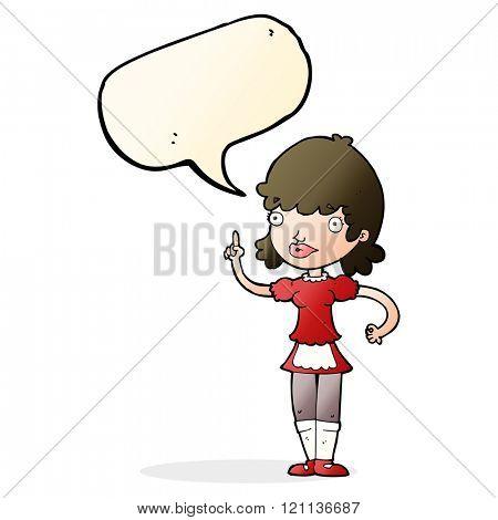 cartoon maid with speech bubble