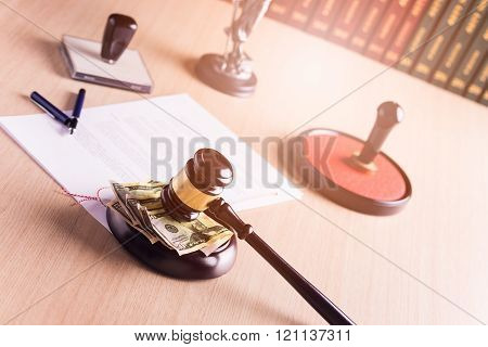 American Money Under The Judge's Gavel