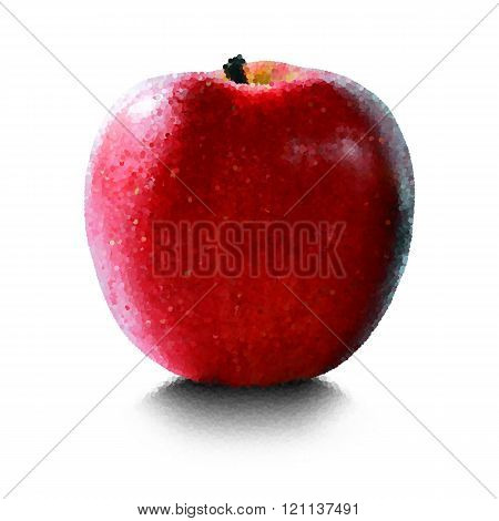 Red apple on a white background closeup
