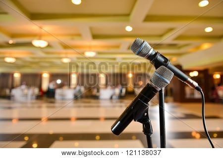 Microphone Of The Orchestra On A Beautiful Restaurant