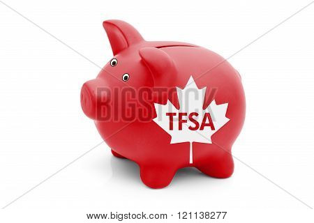 Tax Free Savings Account in Canada, A red piggy bank with a white Canadian maple leaf flag and text TFSA isolated on white