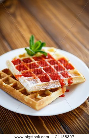Viennese sweet waffles with strawberry jam