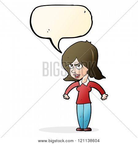 cartoon mean woman with speech bubble