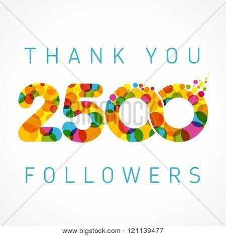 Thank you 2500 followers colored numbers