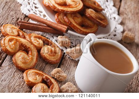 Cookies Of Puff Pastry Palmiers And Coffee With Milk Close-up, Horizontal
