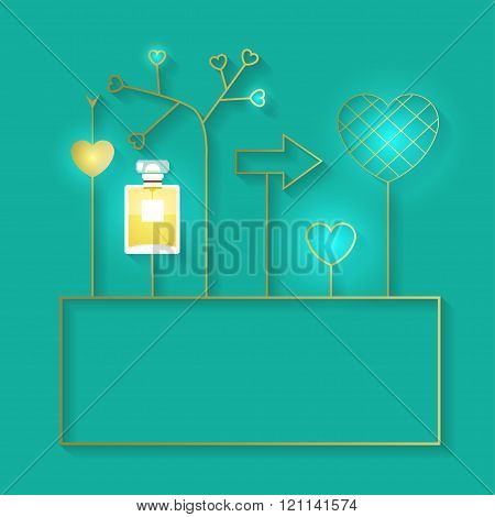 Vector Illustration With Perfume Bottle And Golden Elements With Lights. Fragrance With Golden Decor