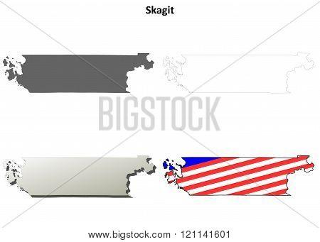 Skagit County, Washington outline map set