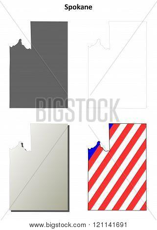 Spokane County, Washington outline map set