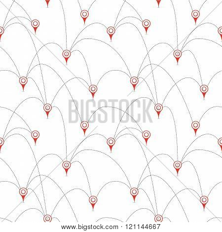 Red map pins with routes isolated on white seamless pattern