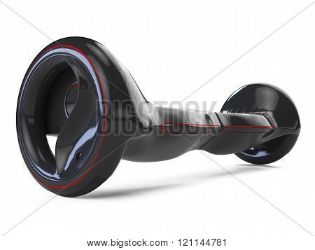 Black color hoverboard isolated on white