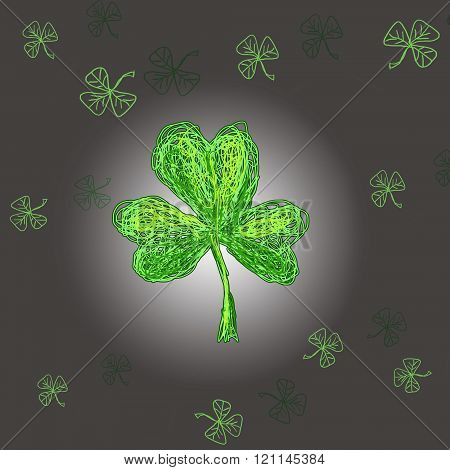 Leafe of clover hand drawn stile. St.Patrick 's Day