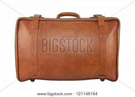 Old brown leather bag isolated on white with clipping path