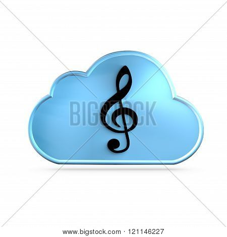 Music As A Service (MAAS) concept. A G clef over a cloud