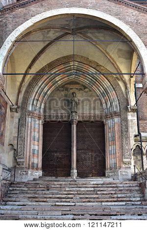 San Fermo Maggiore Beautiful Gothic-romanesque Side Portal In Verona