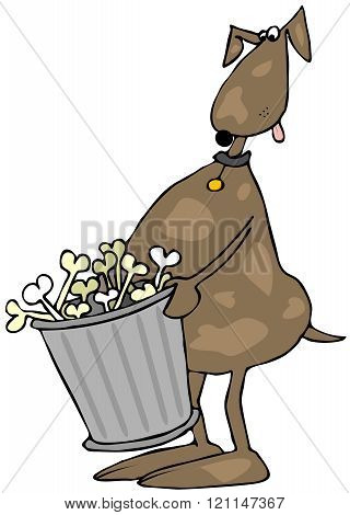 Dog taking out the garbage