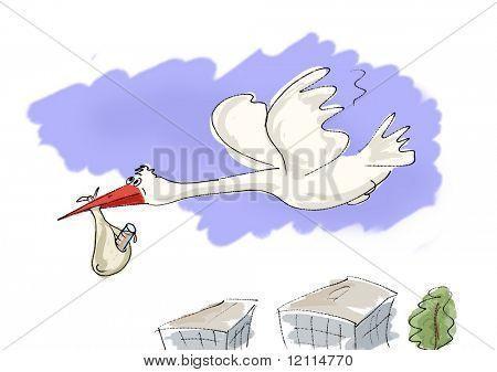 Storch, Neugeborenen zu bringen