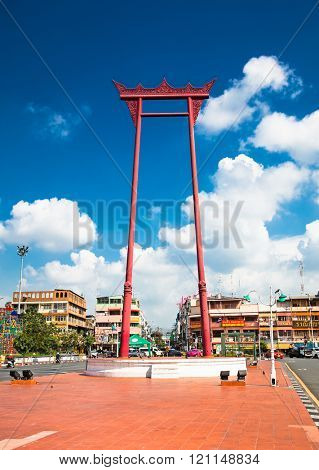 Bangkok,Thailand-Jan 20, 2016: Giant swing, located behind Grand Palace off Th Sanam Chai in Bangkok on Jan 20, 2016, Thailand. Giant swing is a religious structure formerly used in Brahmin ceremony.