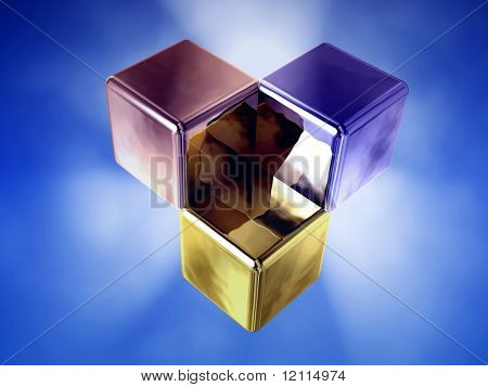 three glowing cube