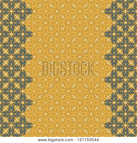 Vector islam pattern border. Seamless arabic ornament. Vintage oriental border design in Victorian style. Ornamental islam pattern lace luxury background. Ornate floral decor wallpaper texture