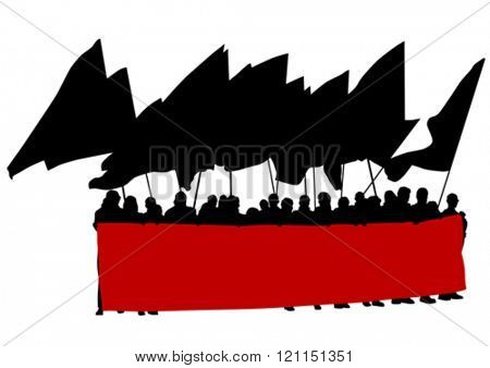 Group of people with flags on white background
