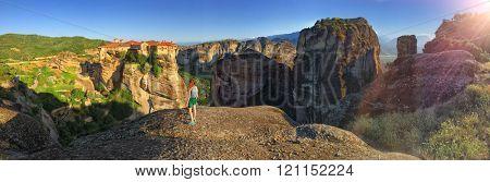 Young Girl Admiring Meteora Mountain and Monastery Panoramic View, Greece