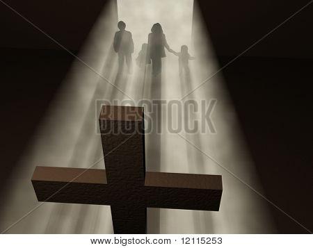 Gläubigen vor einem Kreuz