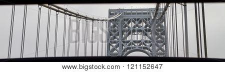 View Of George Washington Bridge. Close Up.