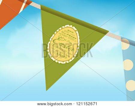 Easter bunting over blue sky with egg