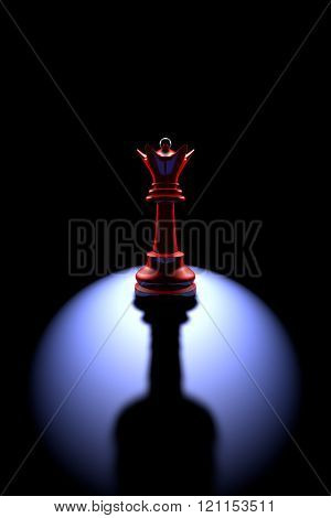 Power And Loneliness.the Most Powerful Chess Piece (queen - A Wine Glass).