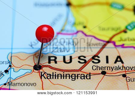 Kaliningrad pinned on a map of Russia