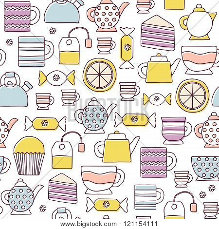 Seamless cute teatime cartoon background for your design