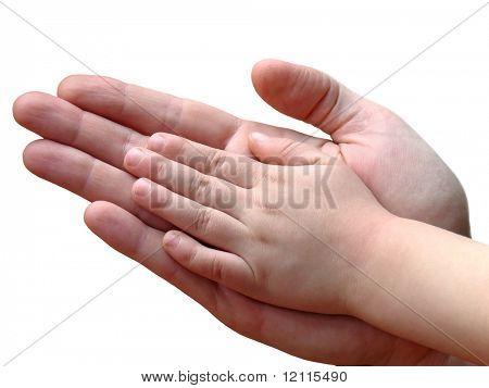 Kind und Eltern Hand in Hand