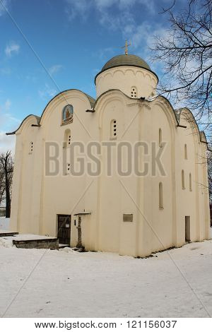 Staraya Ladoga, Russia - 23 February, Church of St. George. 2016, 23 February Tourist places in the great ancient route from the Vikings to the Greeks. Staroladozhsky Holy Assumption nunnery. Gold ring of Russia.