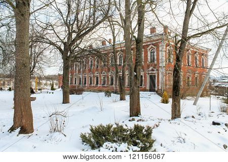 Staraya Ladoga, Russia - 23 February, Residential housing Staraya Ladoga Holy Assumption nunnery, 23 February 2016. Tourist places in the great ancient route from the Vikings to the Greeks.Staroladozhsky Holy Assumption nunnery. Gold ring of Russia.