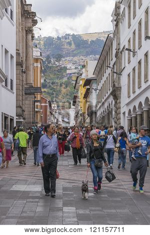 People At Sidewalk At Historic Center Of Quito Ecuador