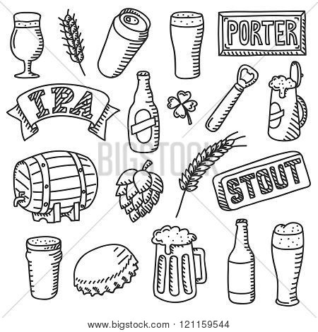 Set of vector beer doodles
