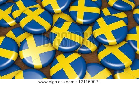Sweden Flag Badges Background