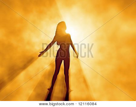 beautiful woman in sunrise fog