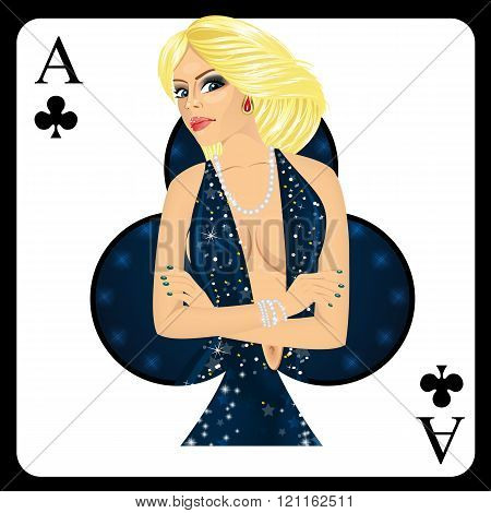 blonde woman representing ace of clubs card from poker game
