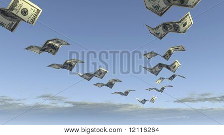 flock of dollar fly away