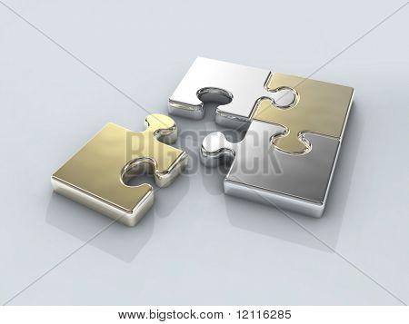 four chrome puzzle connection