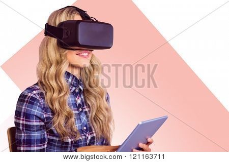 Pretty casual worker using oculus rift against rosa beige and white