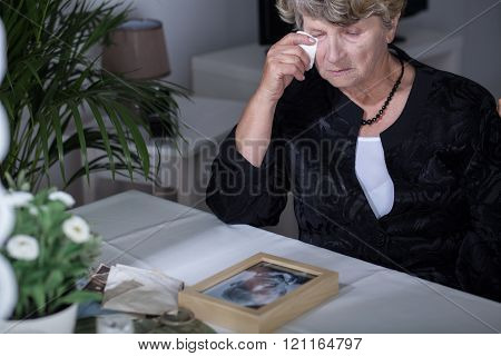 Old woman crying