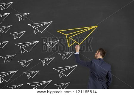 Airplane Leadership Concept on Blackboard