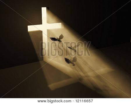 birds fly to God from dark